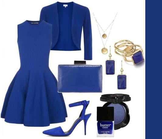 Ярко-синий монохромный лук