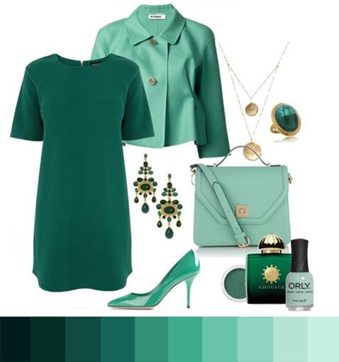 Монохромный лук в оттенках зелёного