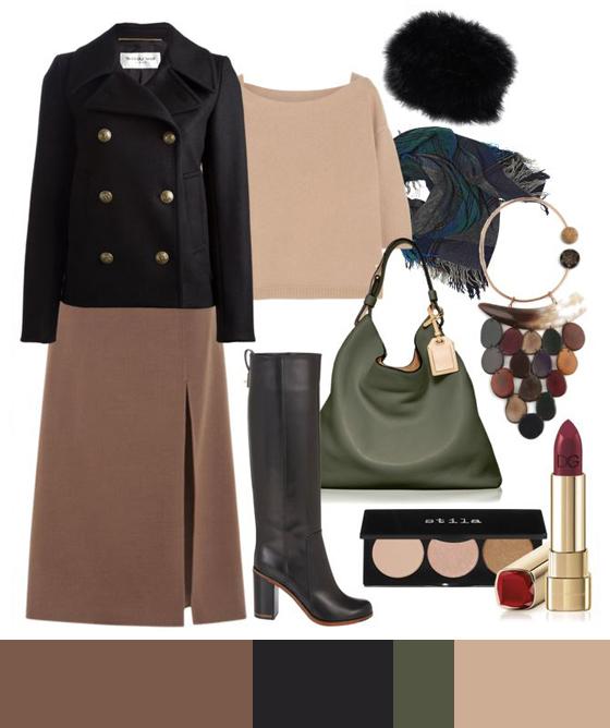 Пальто с обувью на высоком каблуке