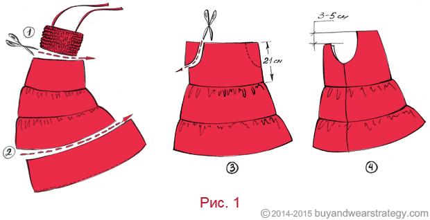 Переделываем длинное платье в платье с вырезом кармен